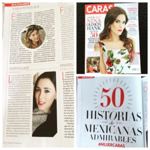 """2015.  Caras magazine, MX. Named as one of the """"50 most Admirable Mexican women""""."""